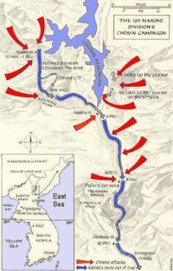 the battle of chosin reservoir during the korean war in 1950 Battle of chosin reservoir part of the korean war: a column of the us 1st marine division move through chinese lines during their breakout from the chosin reservoir.